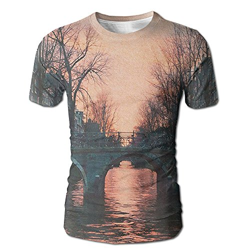 Kooiico Mens Wanderlust Evening In Amsterdam Netherlands Scandinavian Northern Lights River Bridge Cityscape Fashion T Shirt White L