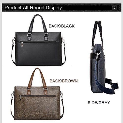 Ranbow paquete de negocios hombres de briefcas, Retro clásico con correa para el hombro Messenger bolso portátil bolsa, Negro, Gris negro negro free marrón