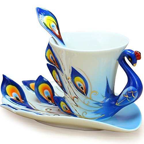 SMKF Collectable Fine Arts China Porcelain Coffee Mug and Saucer Coffee Cup Peacock Theme Romantic Creative Present (Blue)