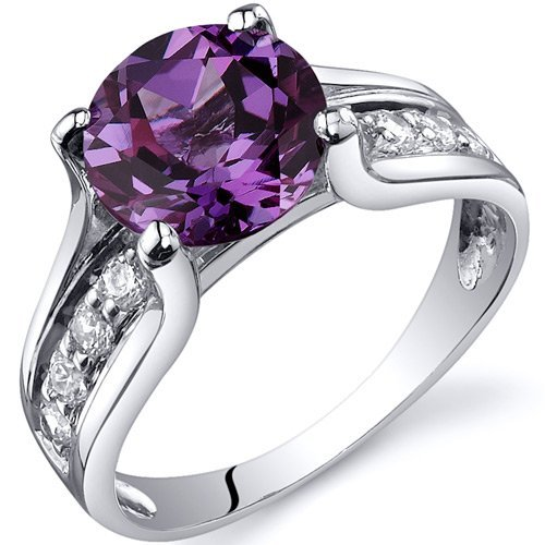 Simulated Alexandrite Solitaire Ring Sterling Silver Size S