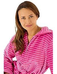 Cawö bathrobe ladies light velor hooded zipper - Pink
