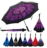 Repel Reverse Folding Inverted Umbrella with 2 Layered Teflon Canopy with Reinforced Fiberglass Ribs (Purple Flower)