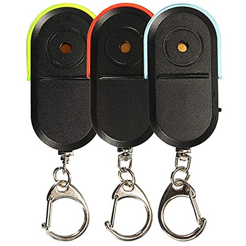 super1798 Wireless Anti-Lost Alarm Key Finder Locator Whistle Sound LED Light Keychain (Blue)