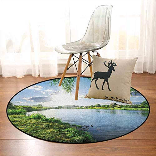 Nature Better Protection Sunny Day on a Calm River in Summer Sunshines Greenery Grass Outdoors Cloud Kid Game Carpet D39.7 Inch Fern Green Sky Blue ()
