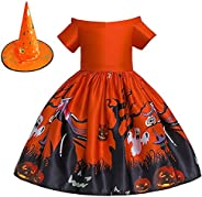 N&B collection Girls Dress Halloween Printed Princess Formal Prom Tutu Ball Gown with