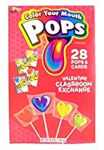 Color Your Mouth Lollipop and Card Valentine's Day Classroom Exchange, 28 Count