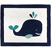 Sweet JoJo Designs Boy or Girl Accent Floor Rug Bedroom Decor for Blue Whale Kids Bedding Collection