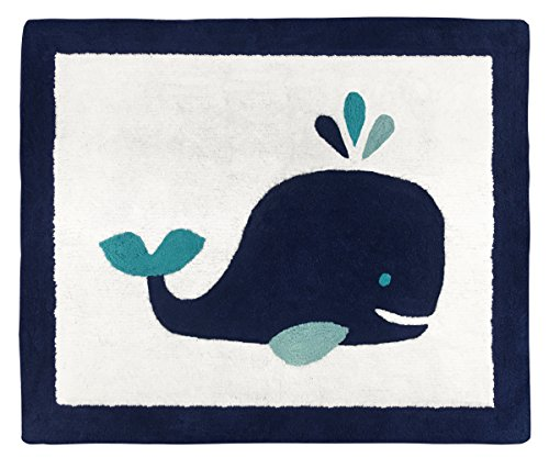 Sweet Jojo Designs Boy or Girl Accent Floor Rug Bedroom Decor for Blue Whale Kids Bedding Collection -