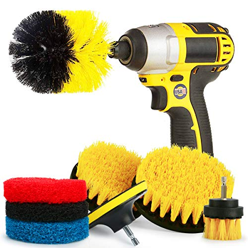 Price comparison product image KAMOTA 7 Pieces Scrub Brush Drill Attachment Kit - Drill Powered Cleaning Brush and Pad Attachments - Time Saving Cleaning Kit Great for Kitchen,  Bathroom,  Cookware and Much More