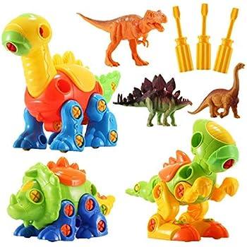 5c54e078e1555 Dinosaur Toys STEM Building Toys - 3 Pack Take Apart Toys with Tools and 3  Pack Bonus Realistic Dinosaur Figures