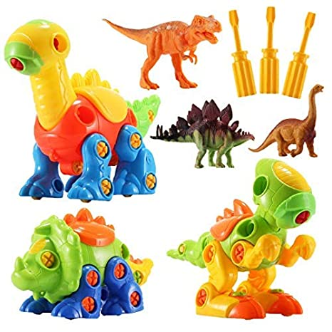 STEM Building Toys – 3 Pack Take Apart Toys with Tools and 3 Pack Bonus Realistic Dinosaur Figures