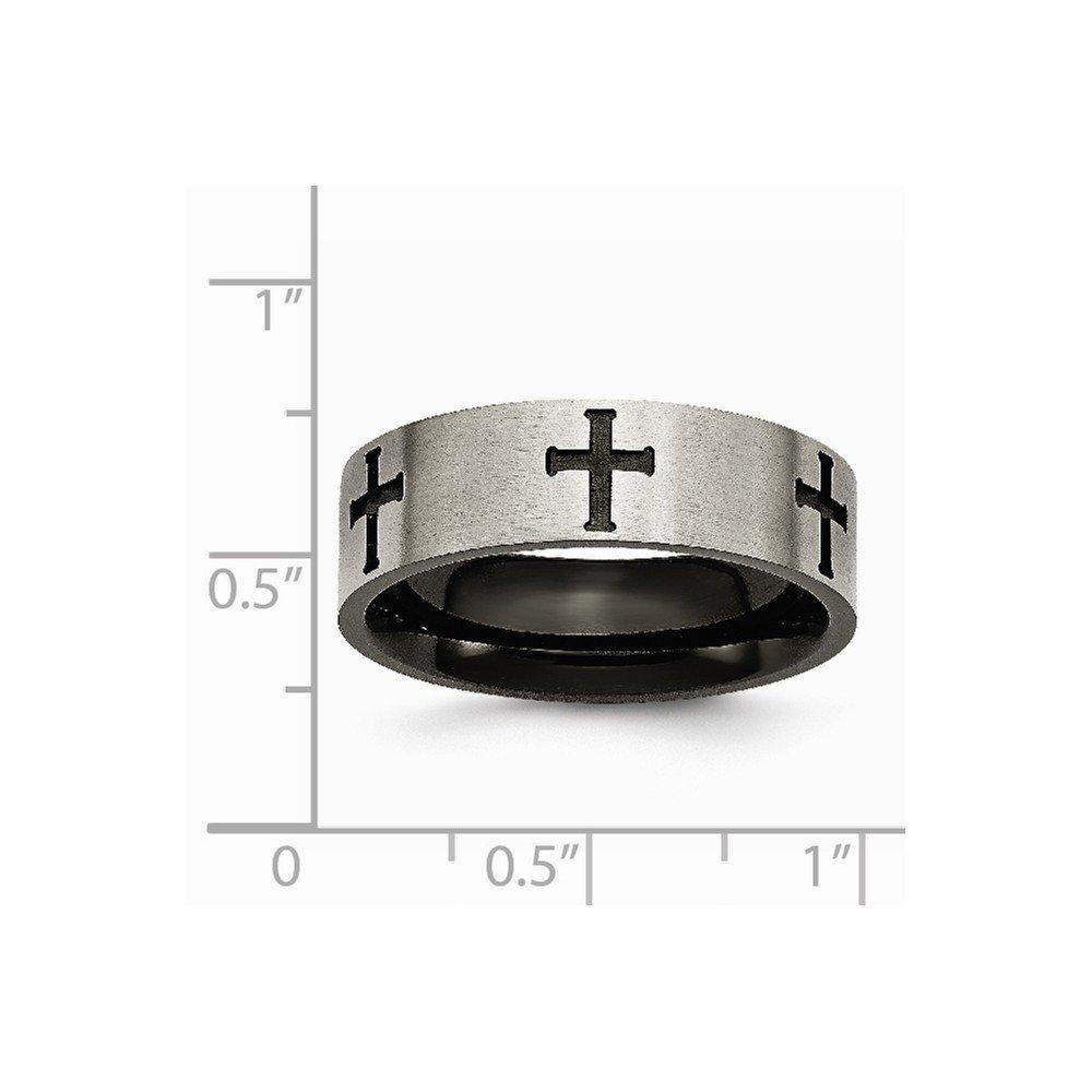 Brilliant Bijou Titanium 7mm Cross Black IP-Plated Brushed /& Polished Band
