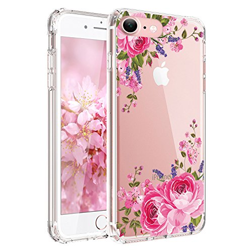 iPhone 6S Case, iPhone 6 Case with Flowers, JIAXIUFEN Clear Slim Shockproof Floral Pattern Soft Flexible TPU Silicone Back Cover - Pink Rose Flowers (Flowers Pink Cover)