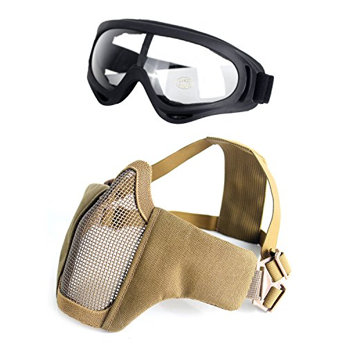 Unigear Airsoft Half Face Masks Steel Mesh Mask with Goggles Set for Hunting, Paintball, Shooting (Tan) ()