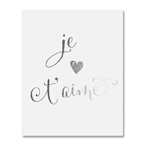 Amazon Com Je T Aime Silver Foil Art Print Calligraphy Modern
