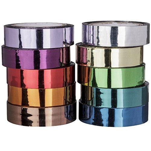 Deko, nastro adesivo, Specchio, 10mm x 10m, 10rotoli | Washi Tape | Masking Tape | Deko Band | hochglaenzend, spiegelnd, 10diversi colori Ideen mit Herz