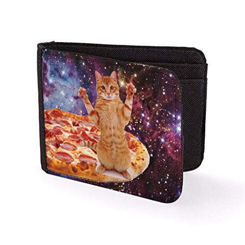 Mens Wallets Billfold Card Holder Pizza Cat In Space Novelty Wallet]()