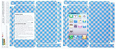 Graphics and More Protective Skin Sticker for Apple iPhone 4/4S - Set of 2 - Non-Retail Packaging - Preppy Hounds Tooth Blue (Iphone 4 Case Preppy)