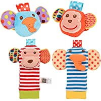 ThinkMax Baby Rattle, 4PCS Baby Wrist Rattle and Foot Rattles Finder Socks Se...