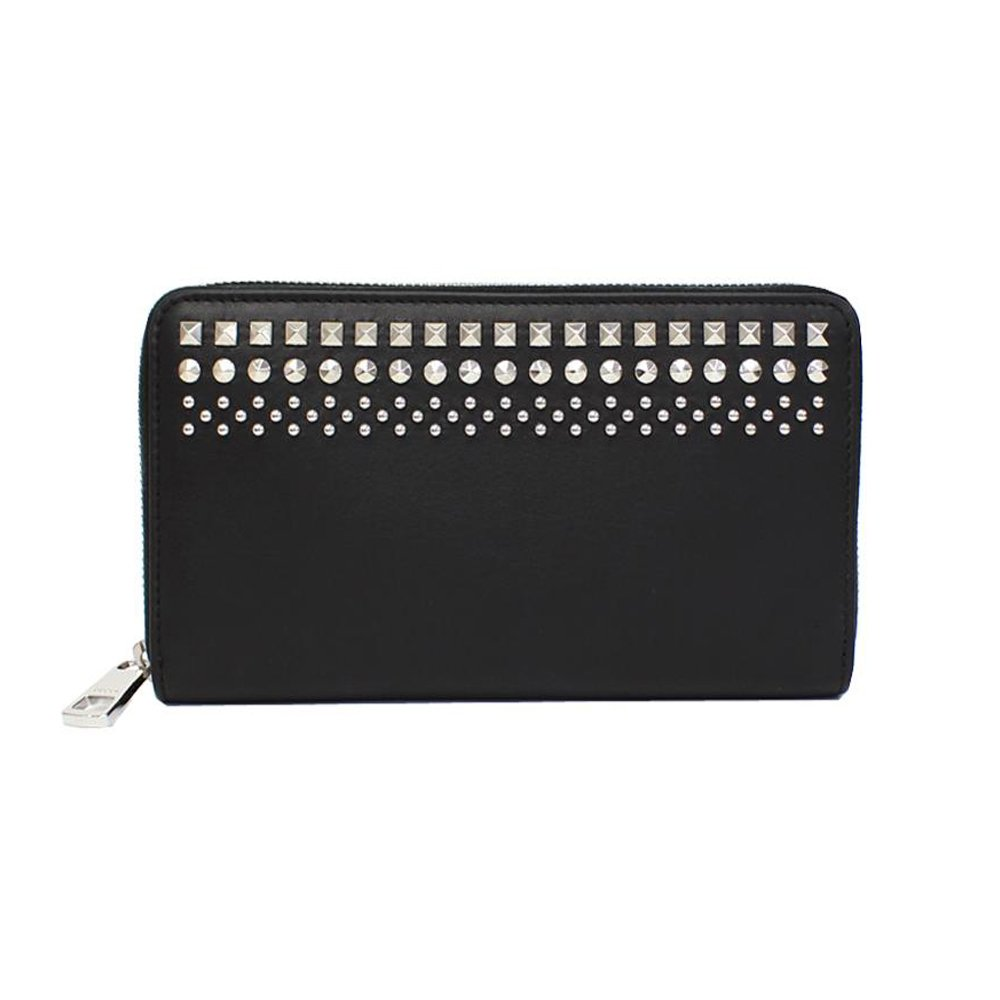 Gucci Leather Black Studded Zip Around Wallet 387456 1000