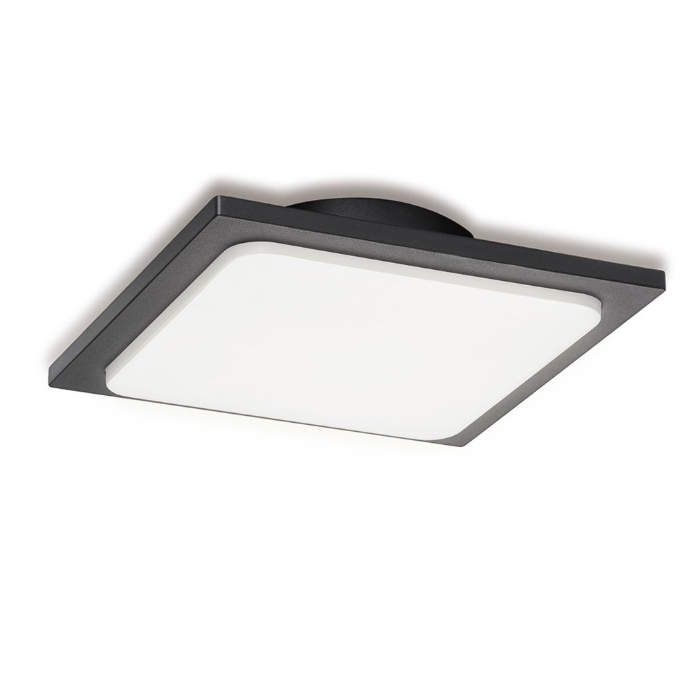 Inowel Outdoor Ceiling Lamp Surface Mounting LED Wall Lamp, Painted Dark Grey Color Aluminium Finished 3000K Warm Light