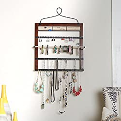 "Hives and Honey 6008-073 Jewelry Organizer with Bracelet Holder Rod, 24"" H x 18"" W x 0.5"" D, Walnut"