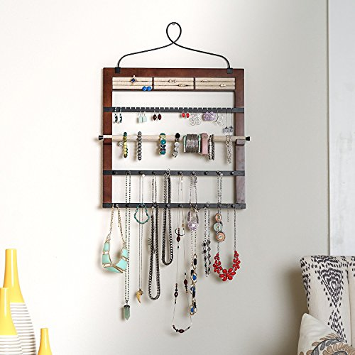 "Hives Honey 6008-073 Jewelry Organizer Bracelet Holder Rod, 24"" H x 18"" W x 0.5"" D, Walnut"