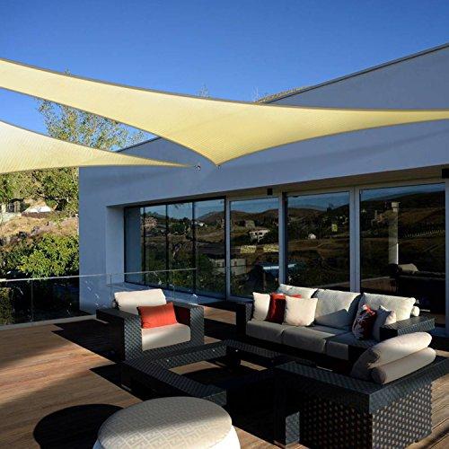 Coarbor 12 x12 x17 Right Triangle Light Grey UV Block Sun Shade Canopy Perfect for Patio Yard Deck Outdoor Garden