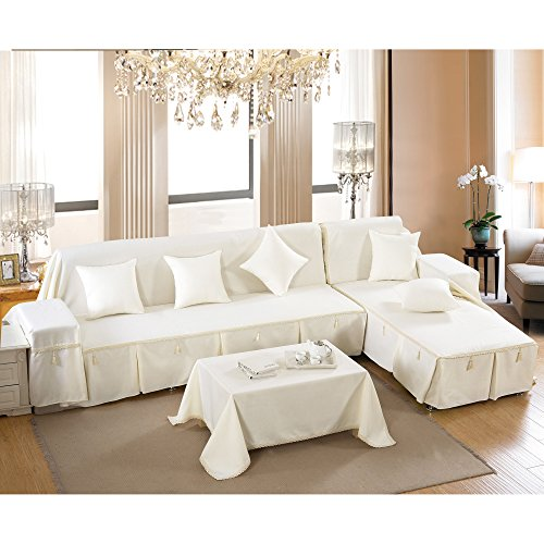 Vercart Full Coverage Seater Couch Sofa Slipcover Throw Covers Furniture Protector for Sofa White 67x102x118 Inches (Buy To Chairs Wingback Where)