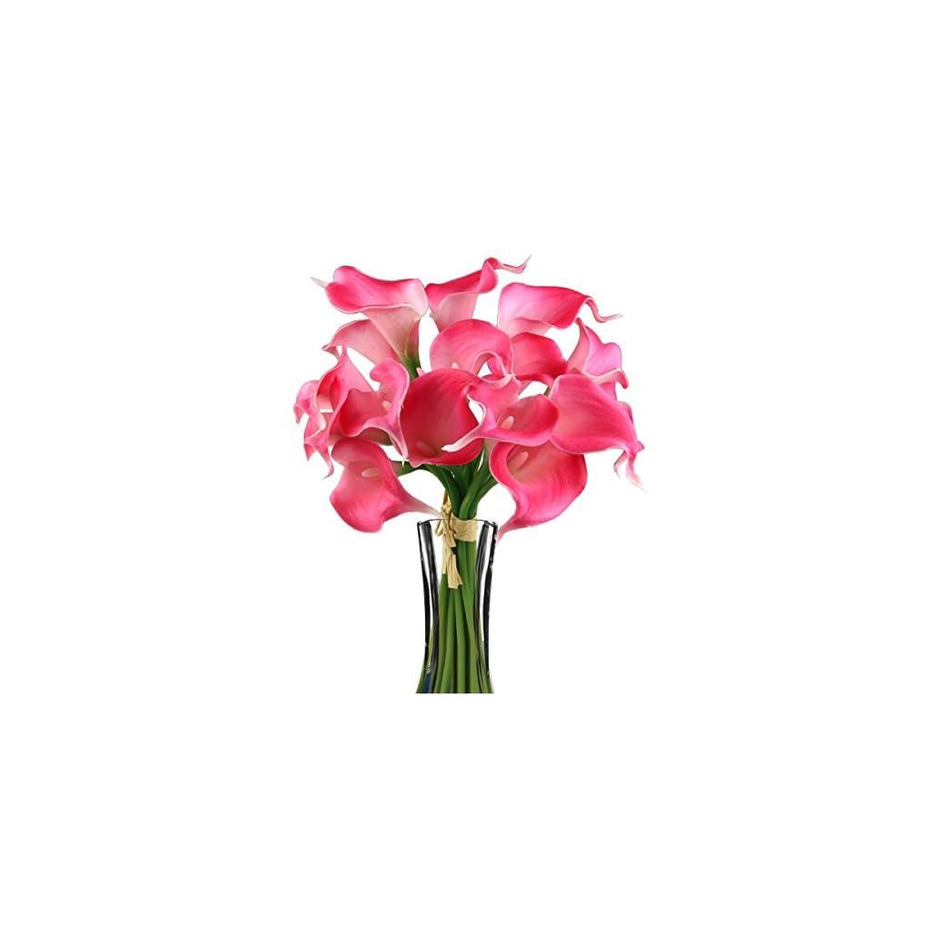 Ewanda store 10 Pcs Real Touch Artificial Calla Lily Latex Flowers for Bridal Wedding Bouquet Flower Bouquets Floral Arrangements Home Decor,Hot Pink