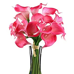 Ewandastore Artificial Calla Lily Bridal Wedding Bouquet 10 head Latex Real Touch Flower Bouquets 15