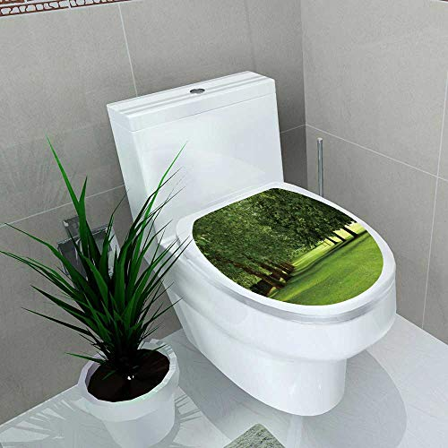 Waterproof self-Adhesive Parallel Row Sycamore Horse Chestnut Trees in Full Leaf Toilet Seat Vinyl Art Stickers W8 x L11 ()