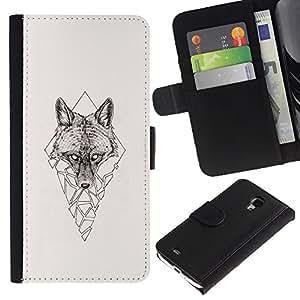 Stuss Case / Funda Carcasa PU de Cuero - Polígono Triángulo Lobo - Samsung Galaxy S4 Mini i9190