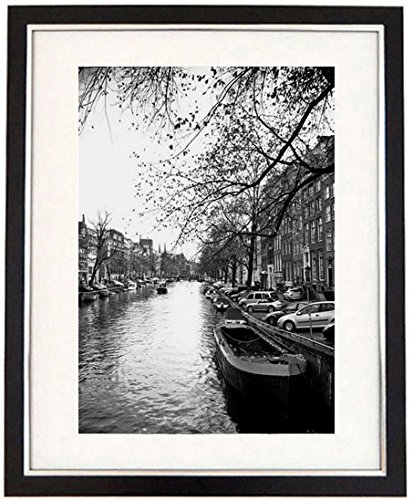 Quayside framed black white print of the canals of amsterdam holland