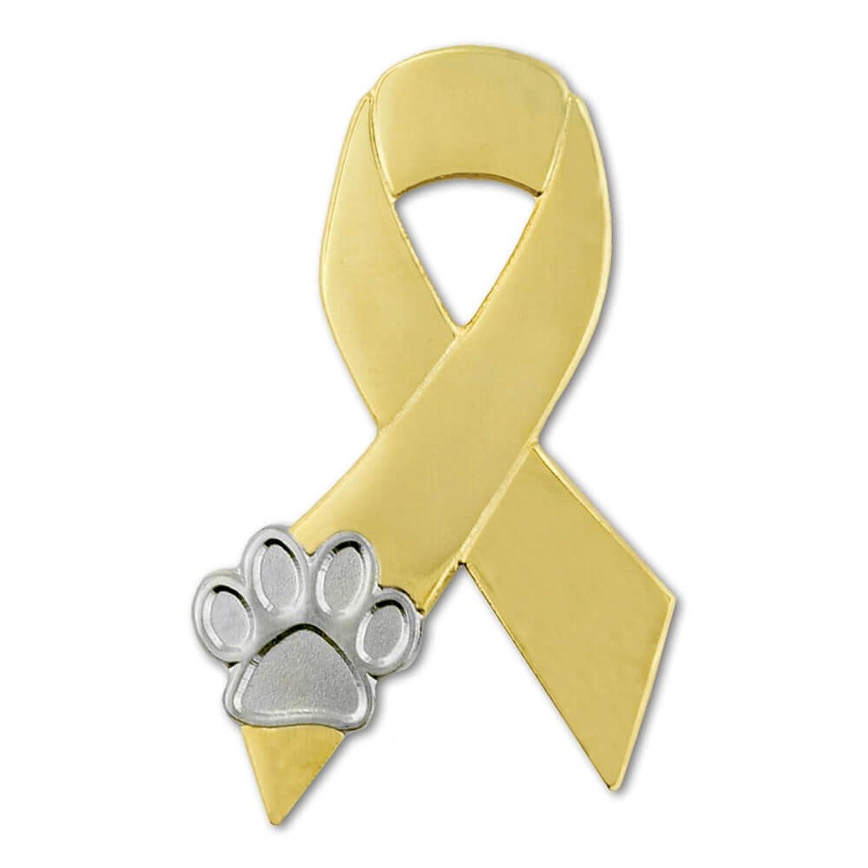 PinMart's Gold and Silver Animal Cruelty Awareness Ribbon Paw Print Lapel Pin