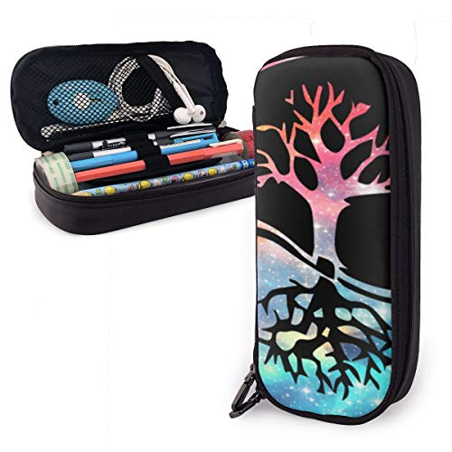 Yin Yang Bonsai Tree Japanese Leather Pencil Case Made of High-Grade PU Leather,Elastic Band Fixation,Portable Design,Convenient