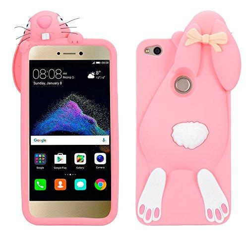 P8 Lite 2017 Conejo Case, Vandot Fashion 3D Lovely Cartoon Buck Teeth Bunny Rabbit Rubber Series Soft Silicone Back Case Cover para Huawei P8 Lite 2017 / P9 Lite 2017 / Huawei Nova Lite / Honor 8 Lite Rabbit Rosa