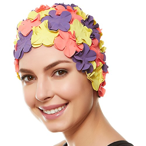 496207394ef Beemo Floral Petal Swim Cap for Women – Retro Style Vintage Bathing Cap  Swimming Hat for Long and Short Hair - Purple Yellow Pink