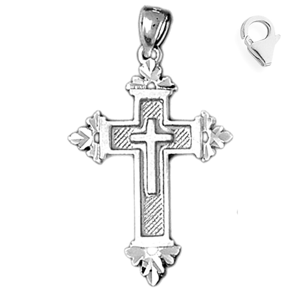 JewelsObsession Sterling Silver 38mm Cross Charm w//Lobster Clasp