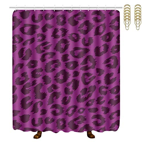 NiYoung Shower Curtain 12 Hooks Included - Cheetah Purple Leopard, Water-Repellent Extra Wide Bathroom Curtains for Stalls and Bathtubs