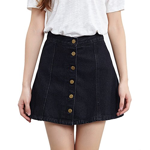 Damen Single-breasted Hohe Taille Mode Denim Rock Mehrfarbige Multi-Size Black dzeiW40l