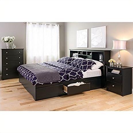 Amazon.com: Prepac Sonoma King 4 Piece Bedroom Set in Black ...