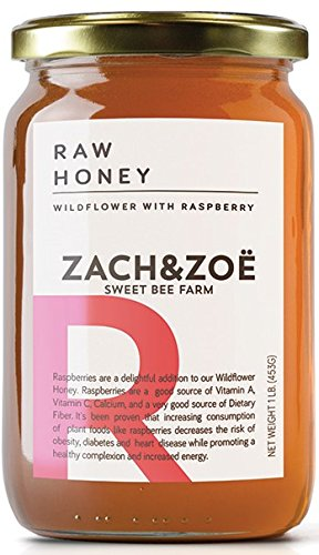 Unfiltered Raw Wildflower Honey with Raspberry – (1) 16oz Jar – Pure Farm Raised Superfood Honey, Packed with Powerful Anti-oxidants, Amino Acids, Enzymes, and - Honey Raspberry