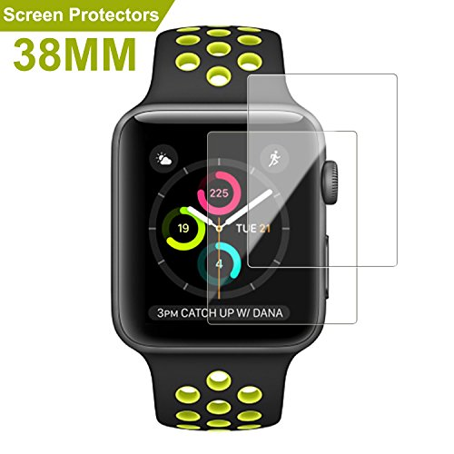 Apple Watch 38mm Screen Protector (Series 1/Series 2/Series 3),SMAPP Ultra HD Premium Screen Protector for Apple Watch /Explosion-proof/Anti-Bubble (2-Pack)