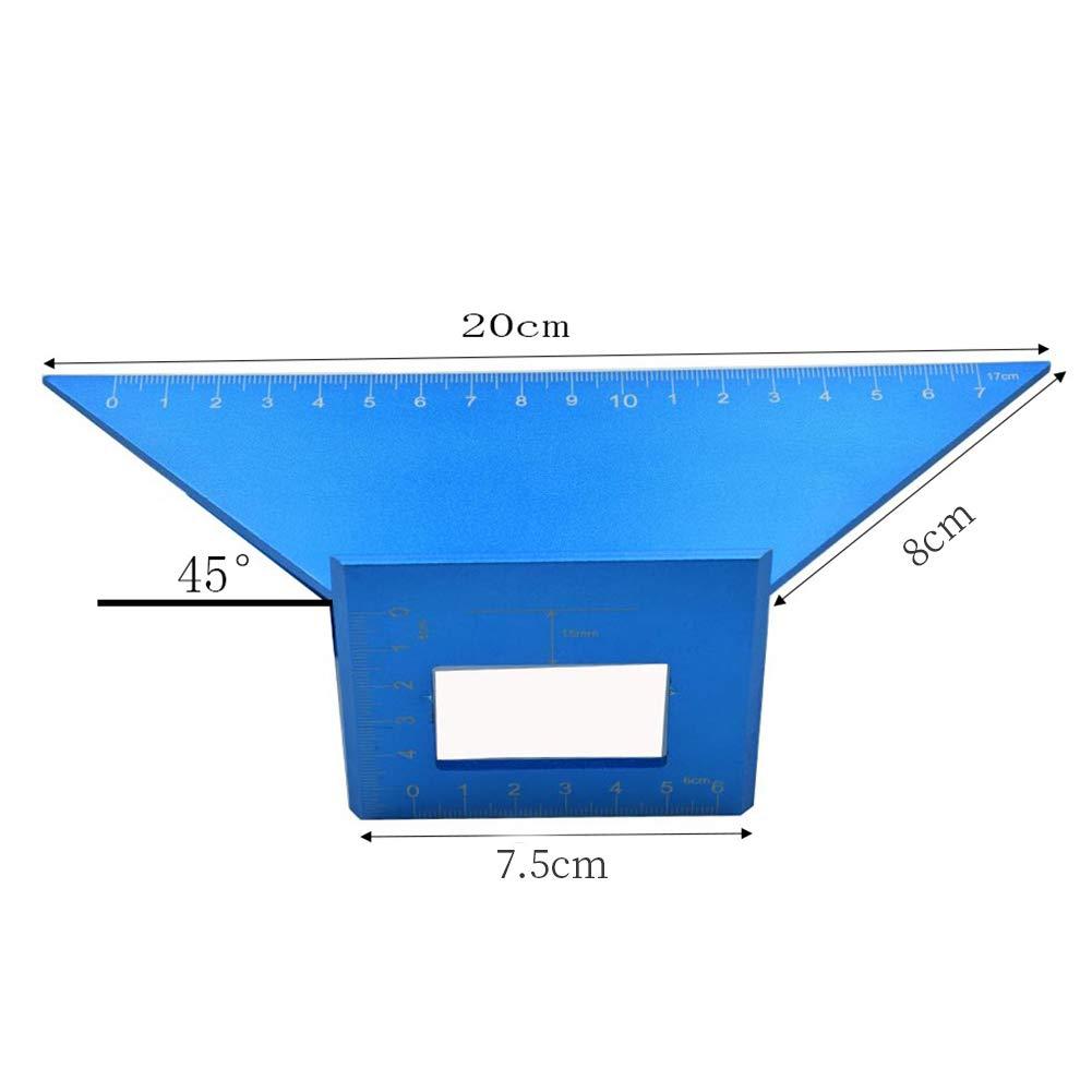 Sill/ín cuadrado de 45 grados herramienta de medici/ón de carpinter/ía de aleaci/ón de aluminio calibre de inglete de 90 grados