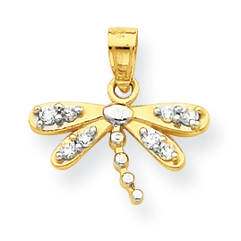 10k Gold CZ Dragonfly Charm