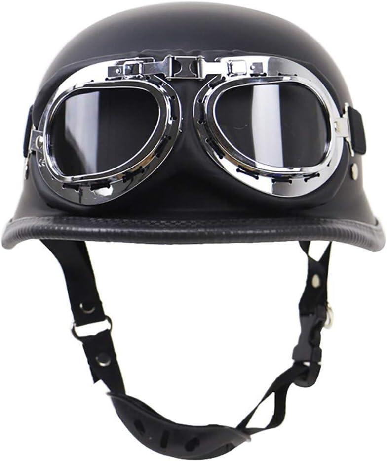 BAOB Jet Vintage Helm Motorrad Harley Halber Motorradhelm DOT Zertifiziert Herren Damen mit Integriertem UVschutzbrille Schnellverschluss f/ür Pedallokomotive Roller Cruiser