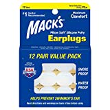 Mack's Pillow Soft Silicone Earplugs - 12 Pair, The Original Moldable Silicone Putty Ear Plugs for Sleeping, Snoring, Swimming, Travel, Concerts and Studying