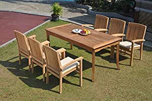 "WholesaleTeakFurniture Grade-A Teak Wood 6 Seater 7 Pc Dining Set: 60"" Rectangle Table 6 Wave Stacking Arm Chairs #WFDSWV25"