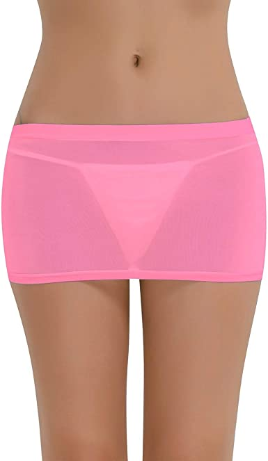 iixpin Mini Falda Sexy Mujer Bodycon Vestido de Malla Lencería ...